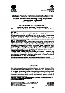 Strategic Financial Performance Evaluation of the Iranian Automotive ...