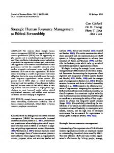 Strategic Human Resource Management as