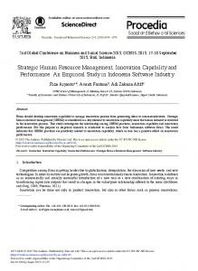 Strategic Human Resource Management, Innovation Capability and ...