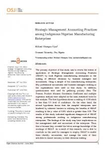 Strategic Management Accounting Practices among Indigenous ...