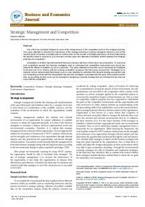 Strategic Management and Competition - AstonJournals