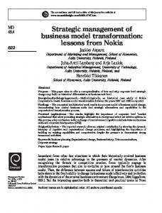 Strategic management of business model transformation - CiteSeerX