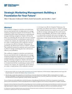 Strategic Marketing Management - EDIS - University of Florida