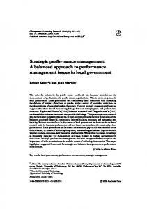 Strategic Performance Management in Local Government - CiteSeerX