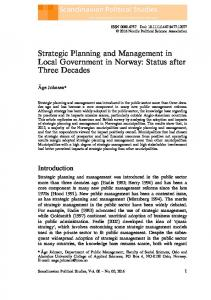 Strategic Planning and Management in Local ...