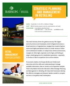 Strategic Planning and Management in Retailing ... - Babson College