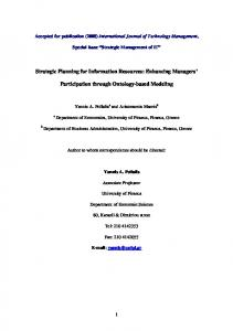 Strategic Planning for Information Resources: Enhancing Managers