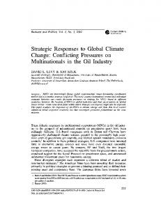 Strategic Responses to Global Climate Change: Conflicting ...