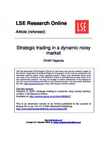 Strategic trading in a dynamic noisy market