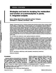 Strategies and tools for studying the metabolism and ...
