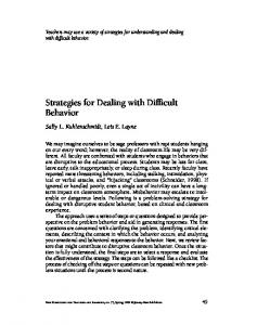 Strategies for Dealing with Difficult Behavior