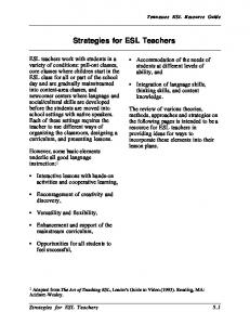 Strategies for ESL Teachers