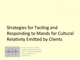 Strategies for Tacong and Responding to Mands for ...