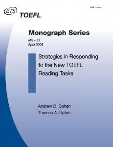 Strategies in Responding to the New TOEFL Reading Tasks - ETS