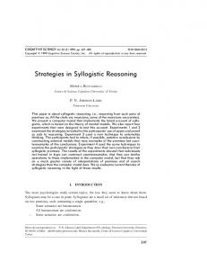 Strategies in Syllogistic Reasoning - Wiley Online Library