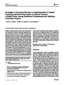 Strategies to Overcome Barriers to Implementation of Alcohol ...