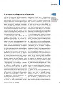 Strategies to reduce perinatal mortality - The Lancet