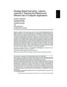 Strategy-Based Instruction: Lessons Learned in Teaching ... - Bhavnani