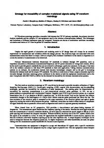 Strategy for traceability of complex modulated signals using RF ... - URSI