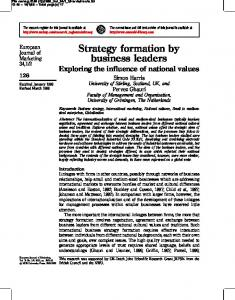 Strategy formation by business leaders - CiteSeerX