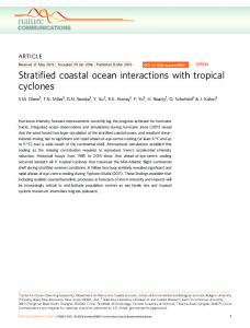 Stratified coastal ocean interactions with tropical cyclones - RuCool