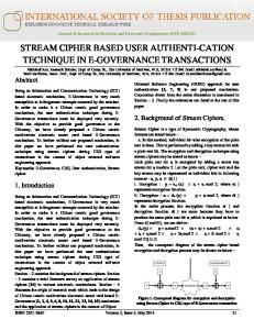 stream cipher based user authenti-cation technique in ...