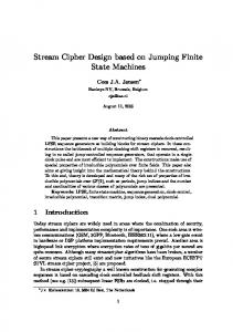 Stream Cipher Design based on Jumping Finite State Machines