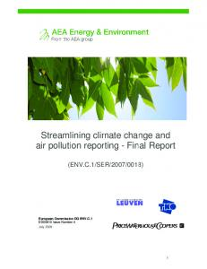Streamlining climate change and air pollution reporting requirements