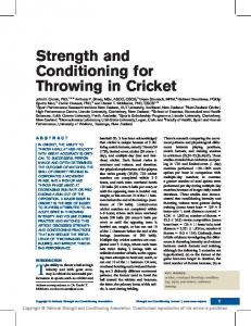 Strength and Conditioning for Throwing in Cricket