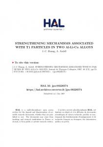 STRENGTHENING MECHANISMS ASSOCIATED WITH T1 ... - Hal