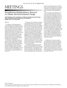 Strengthening Multidisciplinary Research on Climate and ...