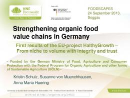 Strengthening organic food value chains in Germany