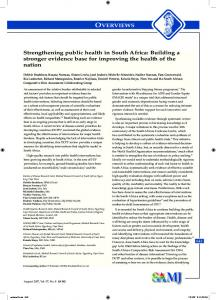 Strengthening public health in South Africa: Building a stronger ...