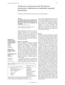 Streptococcus pneumoniae and Mycoplasma pneumoniae coinfection ...