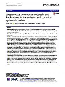 Streptococcus pneumoniae outbreaks and implications for