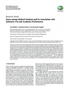 Stress among Medical Students and Its Association with Substance ...