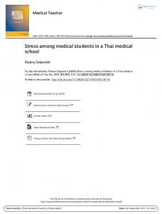 Stress among medical students in a Thai medical school
