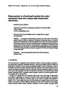 Stress analysis in a functionally graded disc under mechanical loads ...