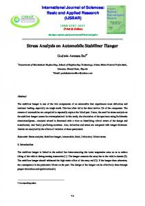Stress Analysis on Automobile Stabilizer Hanger