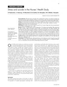 Stress and suicide in the Nurses' Health Study - NCBI