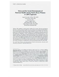 Stress and the Social Determinants of Maternal ...