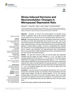 Stress Induced Hormone and Neuromodulator ...