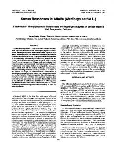 Stress Responses in Alfalfa (Medicago sativa L.)
