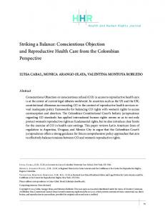 Striking a Balance: Conscientious Objection and ... - Harvard University