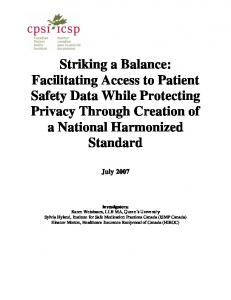 Striking a Balance: Facilitating Access to Patient ...