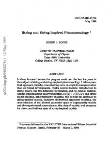 String and string-inspired phenomenology