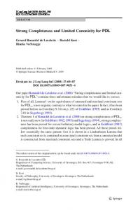 Strong Completeness and Limited Canonicity for PDL - Springer Link