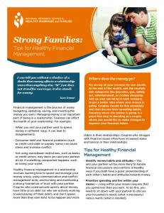 Strong Families: Tips for Healthy Financial Management
