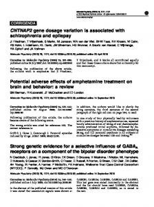 Strong genetic evidence for a selective influence of GABAA ... - Nature