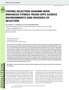strong selection genomewide enhances fitness ... - Wiley Online Library